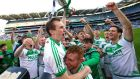 Joey Holden of Ballyhale Shamrocks holds the cup aloft after the All-Ireland club hurling final win over Borris-Ileigh at Croke Park. Photograph: Tom O'Hanlon/Inpho