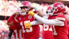 Patrick Mahomes celebrates a touchdown as he inspired the Kansas City Chiefs to the Super Bowl. Photograph: Tom Pennington/Getty