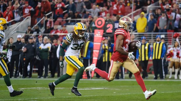 San Francisco 49ers' Raheem Mostert scored four touchdowns against the Green Bay Pakcers. Photograph: AJ Mast/NYT