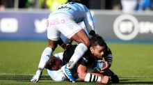 Billy Vunipola is tackled during Saracens' win over Racing 92. Photograph: Adam Davy/PA