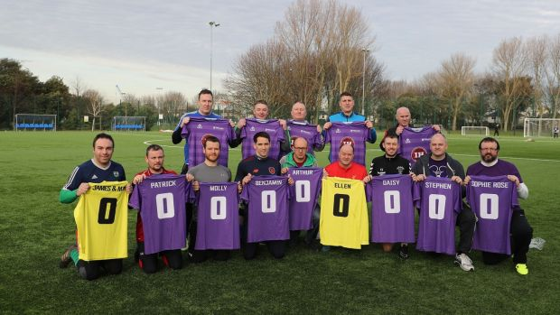 Féileacáin – the Stillbirth and Neonatal Death Association of Ireland – is organising a football match between Irish fathers who have lost babies and a similar team from Wales. Photograph: Nick Bradshaw