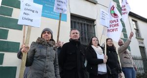 Richard Boyd Barrett holds a demonstration at the controversial co-living development on Eblana Avenue in Dún Laoghaire.  Photograph: Nick Bradshaw/The Irish Times.