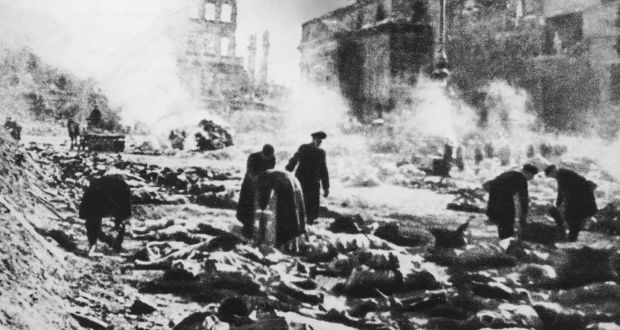 Bodies in the street after the Allied fire bombing of Dresden, Germany, in  February 1945. Photograph: Keystone/Hulton Archive/Getty Images