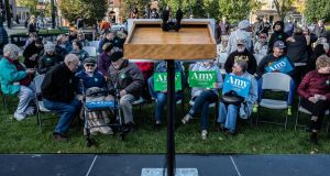 A crowd waits for Sen. Amy Klobuchar's presidential campaign event in Cedar Rapids, Iowa, Oct. 18, 2019. (Jordan Gale/The New York Times)