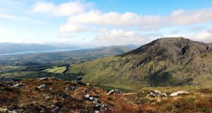 The 360-degree panorama from the top of Peakeen  stretches  from the Purple Mountain, the MacGillycuddy  Reeks, Mullaghanattin and the Dunkerron Mountains of Iveragh