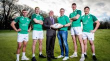 Ireland under-20s' Oran McNulty, David McCann, Ger O'Mahoney from PwC, head coach Noel McNamara, Thomas Ahern and Thomas Clarkson at the squad announcement. Photo: Ryan Byrne/Inpho
