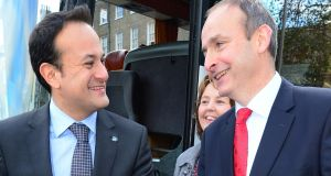 There has been a substantial drop in satisfaction with Fine Gael leader Leo Varadkar since October but his is still, by a small margin, the most popular party leader. Micheál Martin has also dropped since the last poll. Photograph: Bryan O'Brien
