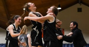 20 January 2020; Pobailscoil Inbhear Sceine players, including Clionadh Daly and Amy Harrington celebrate following the Basketball Ireland U16 A Girls Schools Cup Final between Pobailscoil Inbhear Sceine and Our Lady of Mercy, Waterford at the National Basketball Arena in Tallaght, Dublin. Photo by Harry Murphy/Sportsfile *** NO REPRODUCTION FEE ***