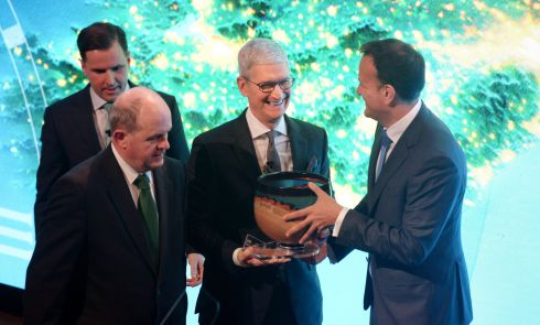 20/01/2020 - NEWS -  Presentation of the IDA Special Recognition Award to Apple CEO, Tim Cook by an Taoiseach Leo Varadkar, at the NCH in Dublin. Photograph: Dara Mac D�naill / The Irish Times         Photograph: Dara Mac Donaill / The Irish Times