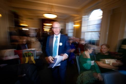 NEW TO THE PARTY: Aontú party leader Peadar Tóibín TD at Wynn's Hotel, Abbey Street Lower, Dublin, for the launch of the party's general election manifesto. The party was established just over a year ago. Photograph: Tom Honan