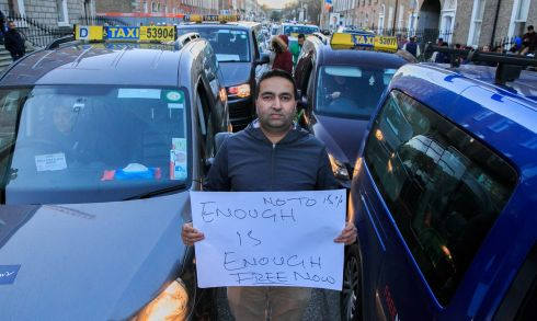 FREE FOR WHO? Lakhbir Singh, from Clondalkin, during a protest by taxi drivers outside the Free Now offices on Mount Street, Dublin. The ride-hailing app company charges a percentage of what taxi-drivers are paid by passengers who use it. Photograph: Gareth Chaney/Collins