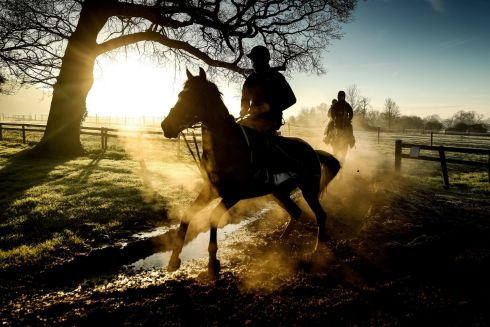 STEAMING SILHOUETTES: Sam Drinkwater, on his mount Howling Milan, returning from the gallops at the Granary Stables, Upper Strensham, Worcestershire, England. Photograph: David Davies/PA Wire