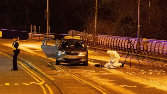 The scene after a taxi was shot at on Drogheda's peace bridge. Photograph: Ciara Wilkinson