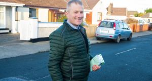 Cllr Eddie Mulligan canvassing for the general election in Waterford City. Photograph: Patrick Browne