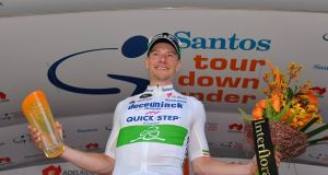 Sam Bennett of Ireland after winning the opening stage of the Santos Tour Down Under. Photograph: Getty Images