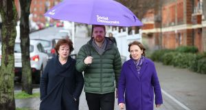 Members of the Social Democrats party Catherine Murphy, Gary Gannon and Roisin Shortall opening  their election campaign on Dublin's Sean McDermott Street. Photograph: Nick Bradshaw/The Irish Times.