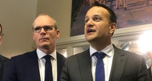 Tánaiste Simon Coveney and  Taoiseach Leo Varadkar are pictured in Cork where  Fine Gael set out its agriculture policy on Tuesday. Photograph: Áine McMahon/PA Wire.