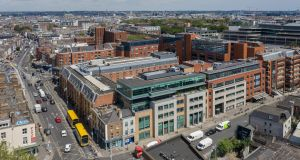 An aerial view of 4  and 5 Harcourt Centre. The property is located at the heart of Dublin's CBD.