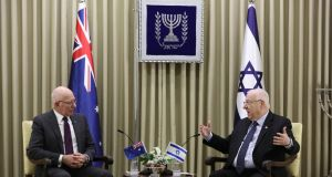 Israeli President Reuven Rivlin (right) with governor-general of Australia David Hurley at a meeting ahead of the  World Holocaust Forum at the presidential residence in Jerusalem, Israel, on Tuesday. Photograph: EPA/Abir Sultan
