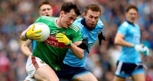 Diarmuid O'Connor in action for Mayo against Jack McCaffrey during the All-Ireland semi-final.  Photograph: Ryan Byrne/Inpho