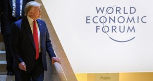 US president Donald Trump at the World Economic Forum (WEF) annual meeting in Davos, Switzerland on Tuesday.  Photograph: Fabrice Coffrini/AFP via Getty Images