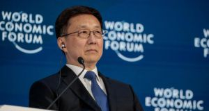Han Zheng, China's executive vice premier, speaking at the World Economic Forum in Davos, Switzerland
