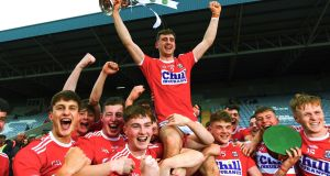 Cork players  celebrate beating Dublin in the Football All-Ireland U20 Championship Final last year. Photograph:  Ken Sutton/Inpho