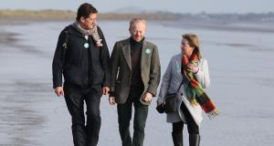 Green Party leader Eamon Ryan, Dublin Bay North candidate David Healy and Dublin North-West candidate Caroline Conroy at Bull Island to launch the party's Biodiversity and Pollution Policy Paper. Photograph: Nick Bradshaw for The Irish Times