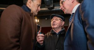 Taoiseach Leo Varadkar – at the mart in Fermoy, Co Cork – is up against it. Photograph: Douglas O'Connor