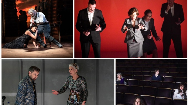Best Opera Production nominees (clockwise from top left): Don Quichotte, Abomination: A DUP Opera, Griselda, The Stalls