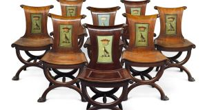 Set of eight Irish George III chairs from Killadoon House,  Co Kildare achieved €55,000 (reserve  €17,600- €29,300) at Sotheby's
