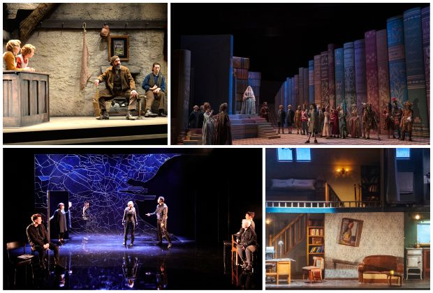 Best Set Design nominees (clockwise from left): Owen MacCarthaigh For The Cripple of Inishmaan by Martin McDonagh, Nicky Shaw For La Cenerentola by Gioachino Rossini, Andrew Clancy For Beckett's Room by Dead Centre with Mark O'Halloran and Sarah Bacon For Citysong by Dylan Coburn Gray