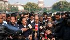 P.K. Kunhalikutty, a member of the Indian parliament, speaks to reporters outside the supreme court in New Delhi. The court has deferred a hearing  on a controversial citizenship law. Photograph: T. Narayan/Bloomberg