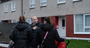 Rise TD Paul Murphy speaking to Voters in the Rossfield Avenue Estate in Tallaght.Photograph: Alan Betson