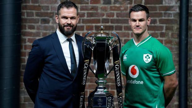 Andy Farrell and Ireland captain Johnny Sexton with the trophy. Photo: Will Oliver/Getty Images