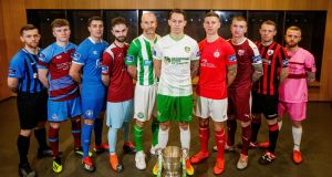 The SSE Airtricity League first division launch: Athlone Town's Aaron Brilly, Drogheda's Conor Kane, Limerick's Shaun Kelly, Bray's Paul Keegan, Cabinteely's Jack Tuite, Shelbourne's Luke Byrne, Galway's Stephen Walsh, Longford's Dean Zambra and Wexford's Jack Doherty. Photograph: Ryan Byrne/Inpho