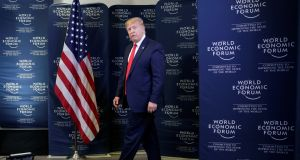 US president Donald Trump arrives to hold a news conference at the 50th World Economic Forum   in Davos. Photograph:  Jonathan Ernst/Reuters