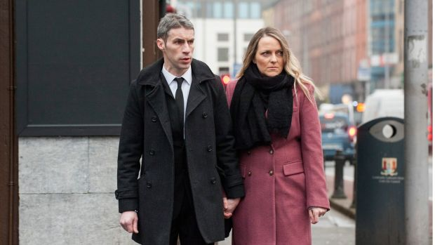 John Paul and Deirdre O'Driscoll, parents of the late Cillian O'Driscoll of Frankfield, Cork pictured at Cork coroner's court. Photograph: Cork Court
