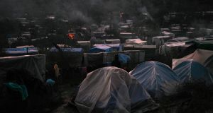 The makeshift camp set up next to the Moria refugee camp on the island of Lesbos, Greece. A charity says the country is denying adequate medical care to refugee children in the camp. Photograph: Aris Messinis/AFP via Getty
