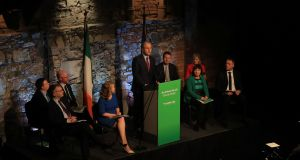 Fianna Fáil party leader Michael Martin speaking during the launch of his party's manifesto. Photograph: Donall Farmer/PA Wire