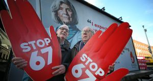 Pensioners Christy Waters from Clondalkin, Dublin,  and Pat Daly from Galway at the launch of Siptu's Stop 67 campaign to reverse the pension age increase. Photograph Nick Bradshaw