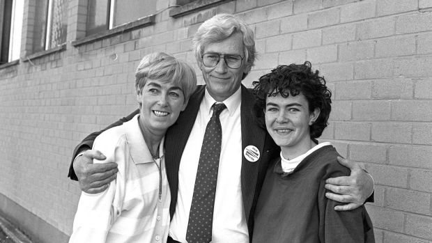 Seamus Mallon with his wife Gertrude and daughter Órla after retaining his Westminster seat for Newry and Armagh in June 1987. Photograph: Pacemaker Belfast