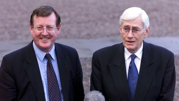 Northern Ireland's First Minister David Trimble and Deputy First Minister Seamus Mallon speaking to the press at the inaugural meeting of the North South Ministerial Council in Armagh in December 1999. Photograph: Alan Betson