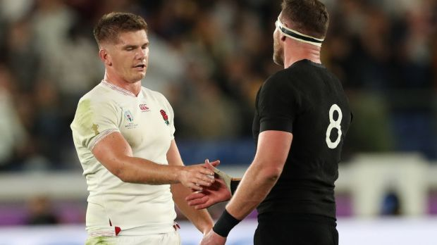 Owen Farrell with Kieran Read after England's semi-ffinal win over the All Blacks. Photograph: Billy Stickland/Inpho