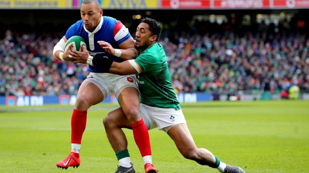 Gaël Fickou in action against Ireland during last year's Championship. Photograph: Ryan Byrne/Inpho