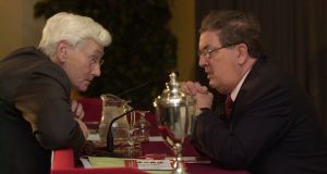 Seamus Mallon and John Hume at the SDLP 33rd annual conference at the Wellington Park Hotel, Belfast in 2004. Photograph: Dara Mac Dónaill