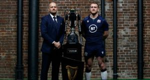 Gregor Townsend and his new Scotland captain Stuart Hogg. Photograph: James Crombie/Inpho