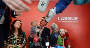CHILDCARE LABOUR: Cllr Juliet O'Connell, Dáil candidate for Dún Laoghaire, Senator Aodhán Ó Ríordáin and Andrew Montague at the launch of the Labour Party's proposals for a new public childcare option. Photograph: Alan Betson/The Irish Times