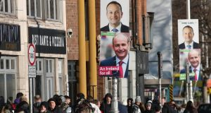Postering in Dublin city centre  Fine Gael leader Leo Varadkar Fine Gael and Fianna Fáil leader Micheál Martin Photograph: Nick Bradshaw