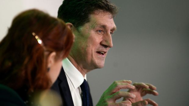 Green Party leader Eamon Ryan speaks to reporters. Photograph: PA